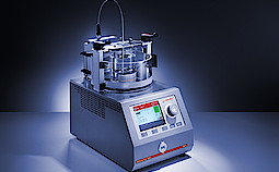 Automatic softening point ring & ball tester RKA 5 with manual standard ball-dispensing system.