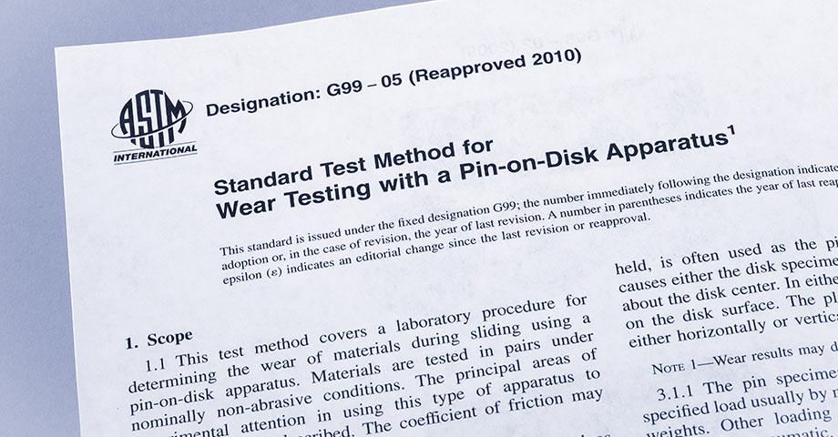 符合 ASTM G99、ASTM G133 和 DIN 50324 标准