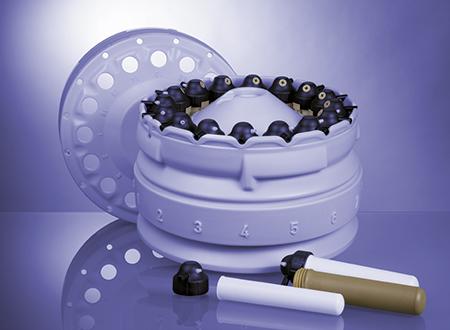 酸消解转子 16HF100 具有 16 个高压容器,设计用于高样品通量和有效输送。